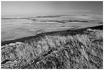 Plain seen from the top of the cliff, late afternoon, Head-Smashed-In Buffalo Jump. Alberta, Canada ( black and white)