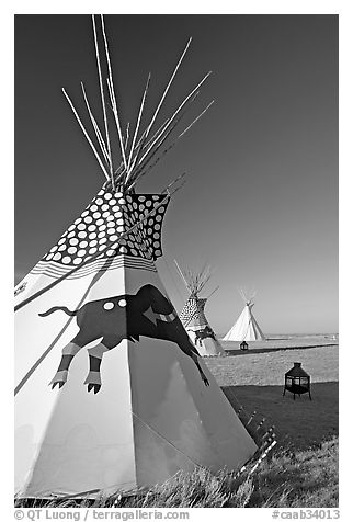 Teepee tents,  Head-Smashed-In Buffalo Jump. Alberta, Canada (black and white)