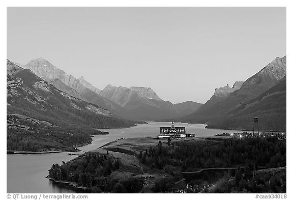 Prince of Wales hotel over Waterton Lakes, dusk. Waterton Lakes National Park, Alberta, Canada (black and white)