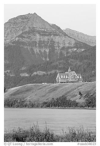 Prince of Wales hotel, lake and mountain, dawn. Waterton Lakes National Park, Alberta, Canada (black and white)