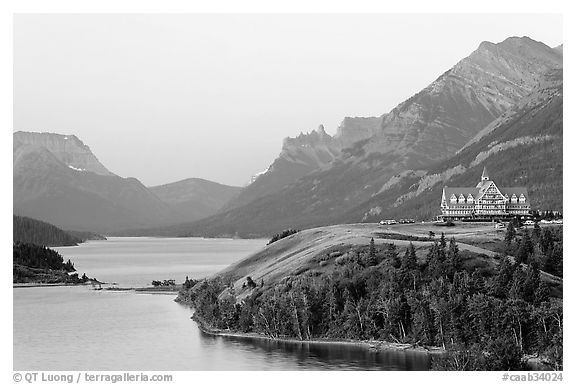 Waterton Lakes and Prince of Wales hotel, dawn. Waterton Lakes National Park, Alberta, Canada (black and white)