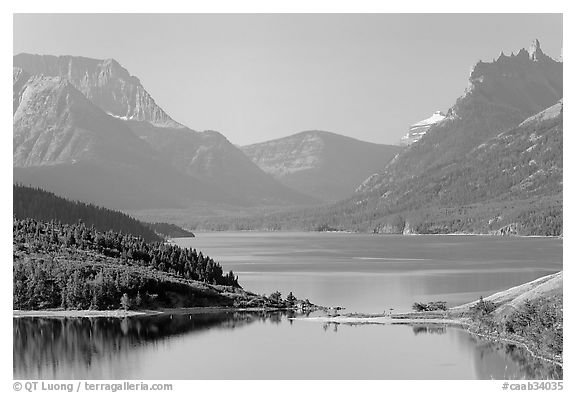 Upper Waterton Lake. Waterton Lakes National Park, Alberta, Canada (black and white)