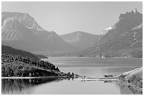 Upper Waterton Lake. Waterton Lakes National Park, Alberta, Canada ( black and white)