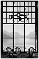 Waterton Lake seen though the immense picture windows of Prince of Wales hotel. Waterton Lakes National Park, Alberta, Canada (black and white)