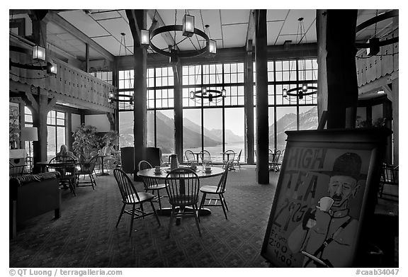 High Tea sign and lobby of historic Prince of Wales hotel. Waterton Lakes National Park, Alberta, Canada (black and white)