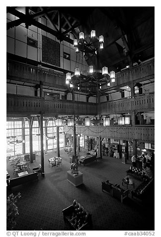 Lobby and chandelier of historic Prince of Wales hotel. Waterton Lakes National Park, Alberta, Canada (black and white)