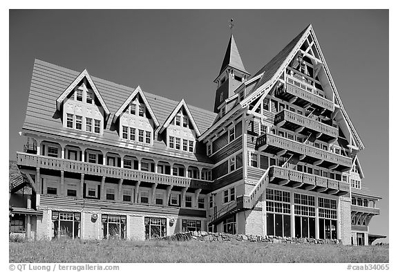Prince of Wales hotel facade. Waterton Lakes National Park, Alberta, Canada (black and white)