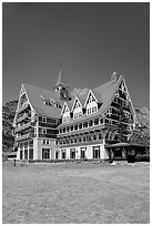 Prince of Wales hotel. Waterton Lakes National Park, Alberta, Canada (black and white)