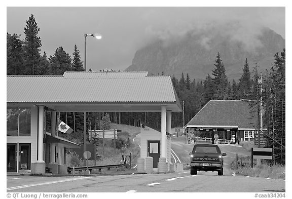 Border Crossing. Waterton Lakes National Park, Alberta, Canada (black and white)