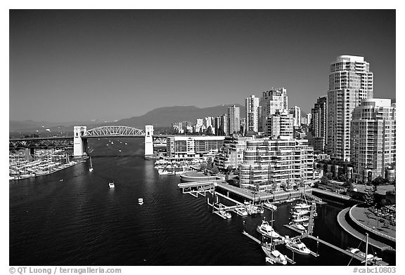 Burrard bridge harbor and high rise residential buildings vancouver british columbia