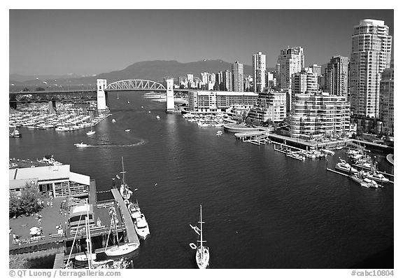 False Creek, Burrard Bridge, and high-rise  buildings see from Granville Bridge. Vancouver, British Columbia, Canada (black and white)