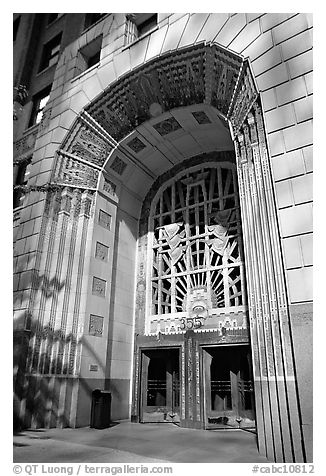 Art Deco entrance, 255 Burrard Street. Vancouver, British Columbia, Canada (black and white)