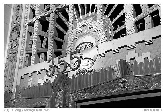 Art Deco entrance of the Marine building. Vancouver, British Columbia, Canada (black and white)