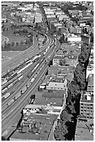 Downtown and railroad from above. Vancouver, British Columbia, Canada (black and white)