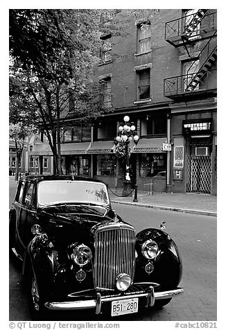 Black and white picture photo classic car in water street vancouver british columbia canada