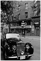 Classic car in Water Street. Vancouver, British Columbia, Canada (black and white)