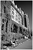 Ivy-covered facade of Empress hotel. Victoria, British Columbia, Canada (black and white)