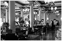 Dining hall of Empress hotel. Victoria, British Columbia, Canada ( black and white)
