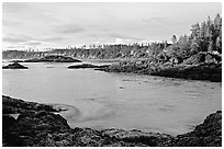 Half-moon bay, late afternoon. Pacific Rim National Park, Vancouver Island, British Columbia, Canada ( black and white)