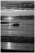 Small boat at Sunset, Half-moon bay. Pacific Rim National Park, Vancouver Island, British Columbia, Canada ( black and white)