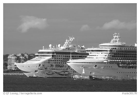 Cruise ships. Victoria, British Columbia, Canada (black and white)