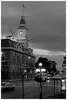 City Hall and Douglas Street at dawn. Victoria, British Columbia, Canada ( black and white)