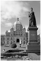 Queen Victoria and parliament building. Victoria, British Columbia, Canada ( black and white)