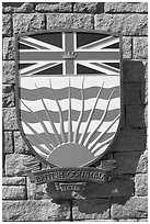 Shield of British Columbia Province. Victoria, British Columbia, Canada ( black and white)