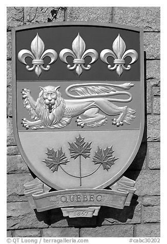 Shield of Quebec Province. Victoria, British Columbia, Canada (black and white)