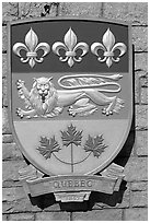 Shield of Quebec Province. Victoria, British Columbia, Canada ( black and white)