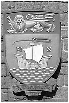 Shield of New Brunswick Province. Victoria, British Columbia, Canada ( black and white)