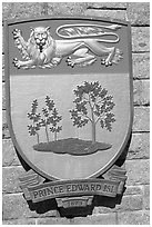 Shield of Prince Edward Island Province. Victoria, British Columbia, Canada ( black and white)