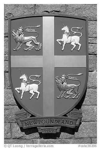 Shield of Newfoundland Province. Victoria, British Columbia, Canada (black and white)