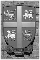 Shield of Newfoundland Province. Victoria, British Columbia, Canada ( black and white)