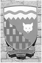 Shield of North-West Territories. Victoria, British Columbia, Canada ( black and white)