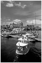 Harbor Ferry with Canadian flag. Victoria, British Columbia, Canada ( black and white)