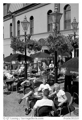 Outdoor cafe terrace, Bastion Square. Victoria, British Columbia, Canada (black and white)