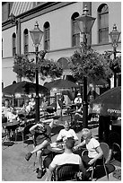 Outdoor cafe terrace, Bastion Square. Victoria, British Columbia, Canada ( black and white)