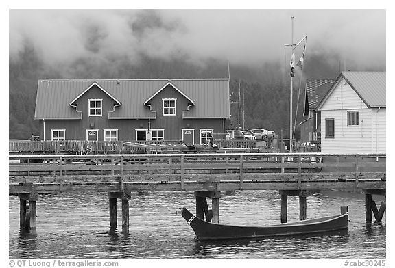 Pier and waterfront buildings, Tofino. Vancouver Island, British Columbia, Canada (black and white)