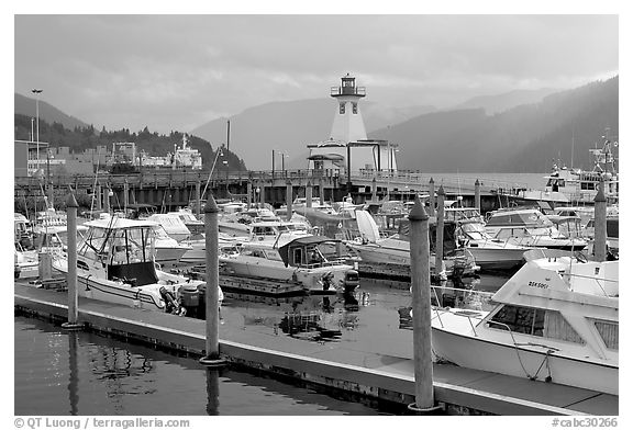 Yachts, harbour and lighthouse, Port Alberni. Vancouver Island, British Columbia, Canada (black and white)
