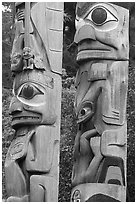 Totem poles, Thunderbird Park. Victoria, British Columbia, Canada ( black and white)