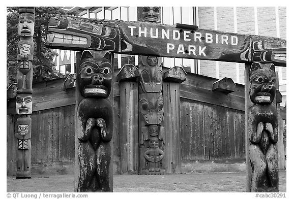 Thunderbird Park. Victoria, British Columbia, Canada (black and white)