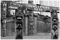 Thunderbird Park. Victoria, British Columbia, Canada ( black and white)