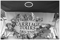 License plate of horse carriage car with flowers. Victoria, British Columbia, Canada ( black and white)