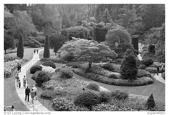 Sunken Garden. Butchart Gardens, Victoria, British Columbia, Canada (black and white)
