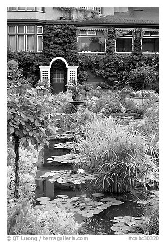 Pond in Italian Garden and Dining Room. Butchart Gardens, Victoria, British Columbia, Canada (black and white)