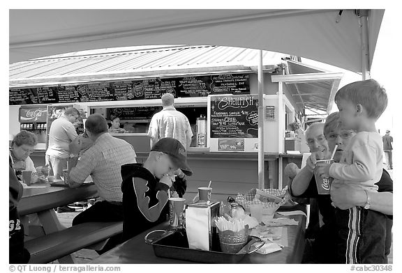 Fish and chips eatery on Fisherman's wharf. Victoria, British Columbia, Canada (black and white)