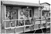 Houseboat porch. Victoria, British Columbia, Canada ( black and white)