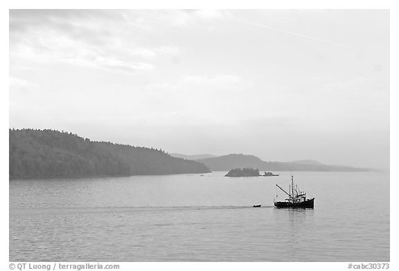 Fishing boat in the San Juan Islands. Vancouver Island, British Columbia, Canada (black and white)