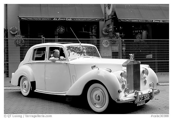Rolls-Royce in Water Street. Vancouver, British Columbia, Canada (black and white)